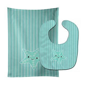 Carolines Treasures  BB7127STBU Starfish Baby Bib & Burp Cloth