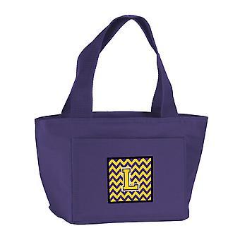 Carolines Treasures  CJ1041-LPR-8808 Letter L Chevron Purple and Gold Lunch Bag