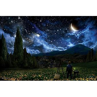 Van Gogh In The Starry Night Poster Poster Print