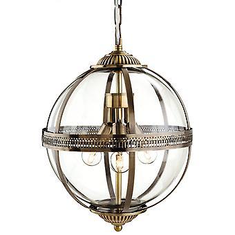 Firstlight traditionelle Bronze klart glas Globe pendel