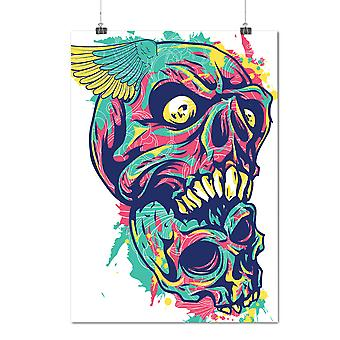 Matte or Glossy Poster with Colorful Art Death Skull | Wellcoda | *d1277
