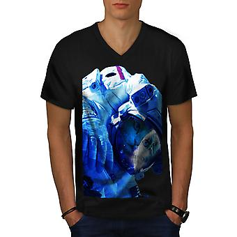 Space Cute Adorable Cat Men BlackV-Neck T-shirt | Wellcoda