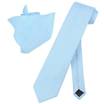 Vesuvio Napoli Solid EXTRA LONG NeckTie Handkerchief Mens Neck Tie Set