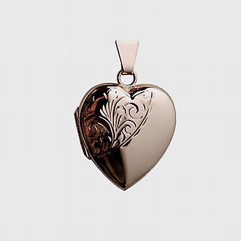 cuore a forma di medaglione inciso a mano 22x19mm di 9ct Rose Gold