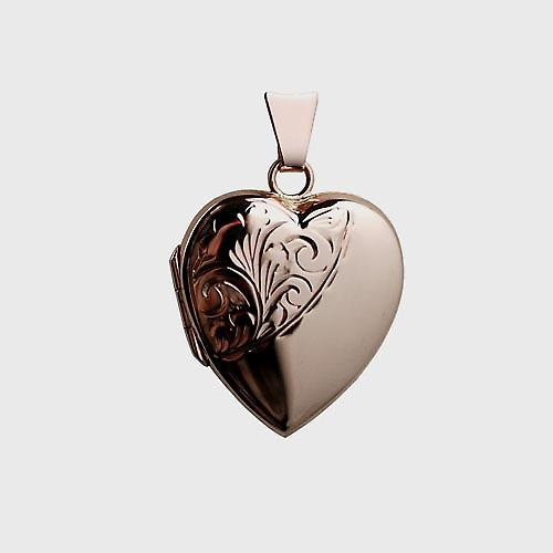 9ct Rose Gold 22x19mm hand engraved heart Locket