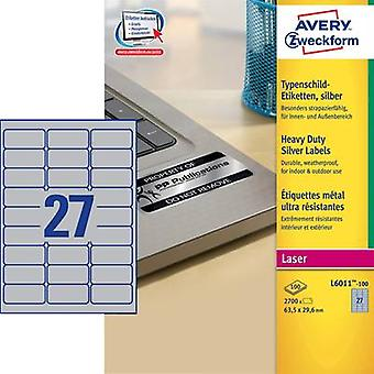 Avery-Zweckform L6011-100 Labels (A4) 63.5 x 29.6 mm Polyester film Silver 2700 pc(s) Permanent Nameplates Laser, Copier
