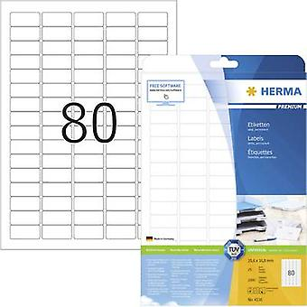 Herma 4336 Labels (A4) 35.6 x 16.9 mm Paper White 2000 pc(s) Permanent All-purpose labels, Address labels Inkjet, Laser,