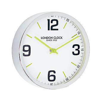 London Pop Zest Small Chrome Metal Case Wall Clock