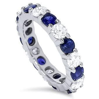 3ct синий сапфир & бриллиантовое кольцо вечности 14K Белое золото