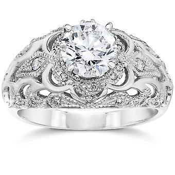 Emery .75Ct Vintage Diamond Genuine Engagement 14K White Gold