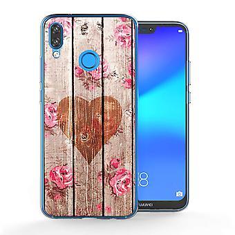 Huawei P20 Lite Vintage Herz aus Holz TPU Gel Fall