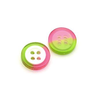 Packet 10 x Pink/Green Resin 13mm Round 4-Holed Sew On Buttons HA10925