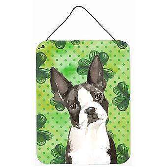 Shamrocks Boston Terrier Wall or Door Hanging Prints