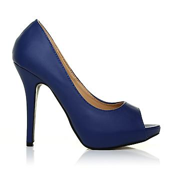 TIA Navy PU Leather Stiletto High Heel Platform Peep Toe Shoes