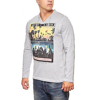 GLO STORY rhinestone men's long sleeve grey tunnel train