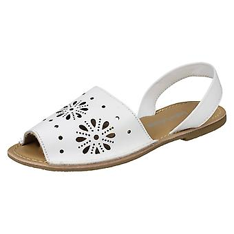 Ladies Leather Collection Flower Design Mules F00144 - Black Leather - UK Size 3 - EU Size 36 - US Size 5