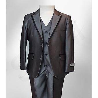 Boys Grey Silver 3 Piece Page Boy Suit With Black Wedding, Party, Dinner, Prom Suit by Romano