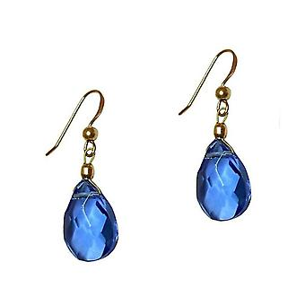 GEMSHINE ladies earrings with Blue Topaz quartz gemstones. 2 cm gold plated gemstone earrings drop. Made in Munich / Germany. Delivered in the elegant jewelry with gift box.