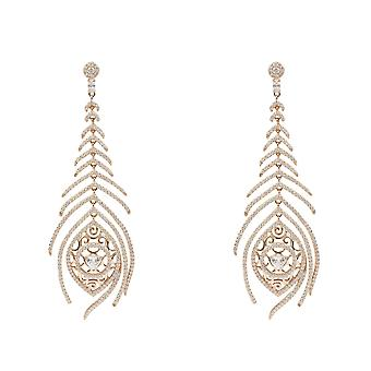 Peacock Feather Long Drop Earring Rosegold