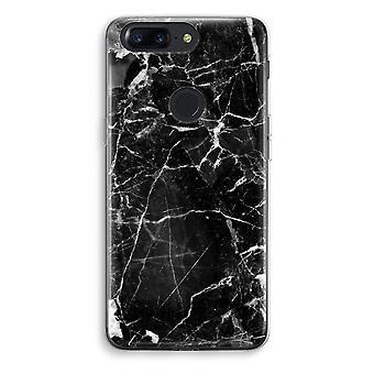 OnePlus 5T Transparent Case (Soft) - Black Marble 2