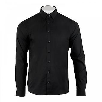 Calvin Klein Mens camicia in popeline Stretch Slim (nero)
