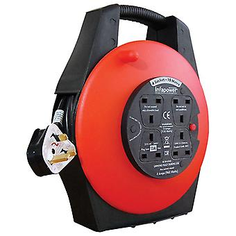 Infapower X813 Indoor Outdoor 4 Socket 13A 15 Metre Enclosed Drum Extension Lead