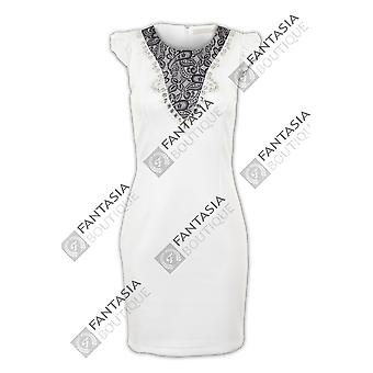 Dames GLB mouw Lace Diamante parel slanke Stretch Bodycon Women's korte jurk