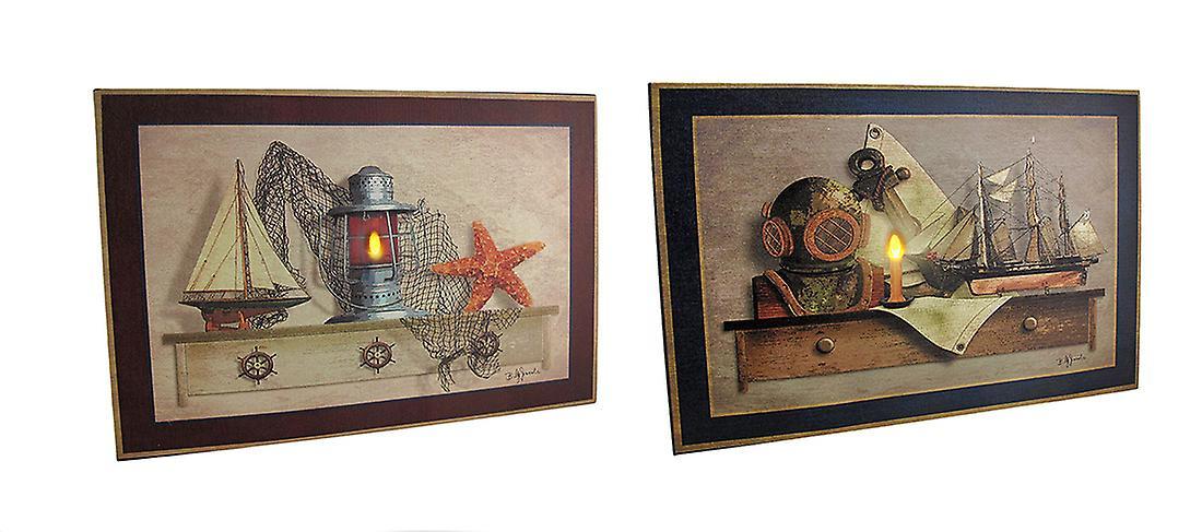 2 Pc. Nautical Theme Candle & Lantern LED lumièreed toile Wall Hanging Set