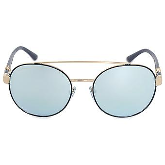 Bvlgari Round Sunglasses BV6085B 20206J 55 | Blue Metal Frame | Blue Mirror Lenses