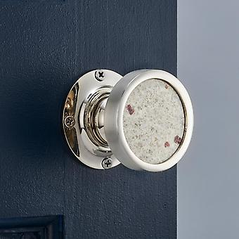 Luxury Internal Mortice Door Knobs with White Granite Insert