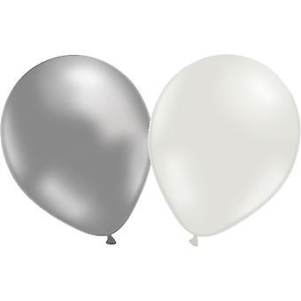 Luftballons 12-Pack Silber/weiss
