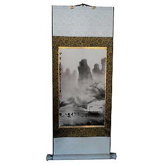 Pittura di paesaggio su carta di riso, 96 x 37 cm