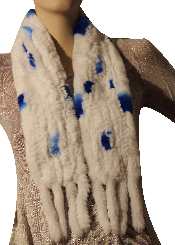 Waooh - Mode - Echarpe en fourrure de lapin rex tricotée avec gland