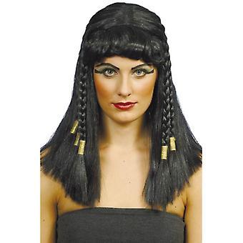 Negro largo trenzado peluca, peluca de Cleopatra, Egipto, accesorio de disfraces