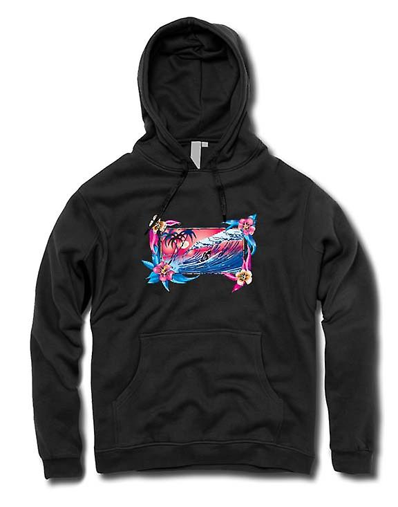 Mens Hoodie - Wave Riding Surfer With Flowers
