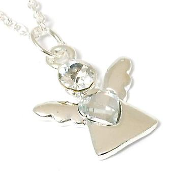 The Olivia Collection Ladies Silvertone Guardian Angel Glass Pendant 16