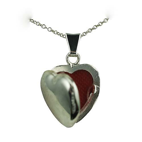 Silver 17x16mm plain heart shaped Locket with a rolo Chain 20 inches