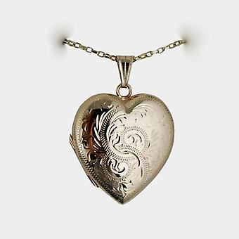 9ct Gold 30x28mm hand engraved family heart shaped Locket with a belcher Chain 16 inches Only Suitable for Children