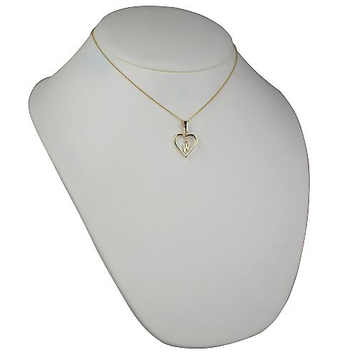 9ct Gold 18x18mm initial W in a heart Pendant with a cable Chain 16 inches Only Suitable for Children