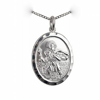 Silver 30x21mm oval diamond cut edge St Christopher Pendant with a curb Chain 24 inches