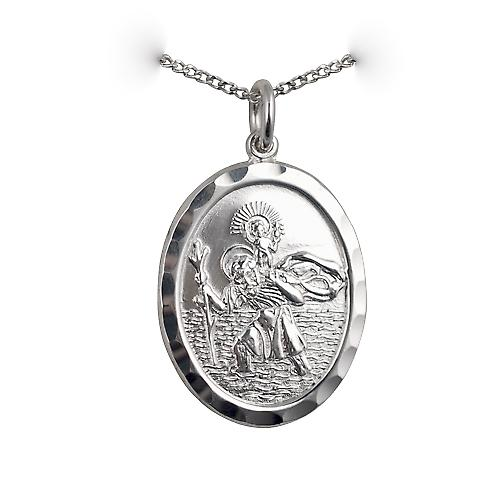 Silver 30x21mm oval diamond cut edge St Christopher Pendant with a curb Chain 18 inches