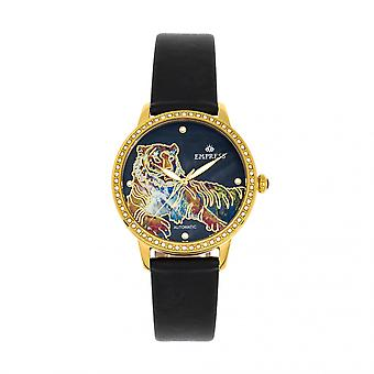 Empress Diana Automatic Engraved MOP Leather-Band Watch - Black