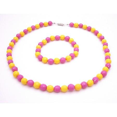 Exclusively Lovely Flower Girl Jewelry Pink & Yellow Multifaceted Bead