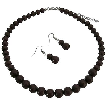 Elegant Sophisticated Chocolate Brown Bridal Jewelry Set