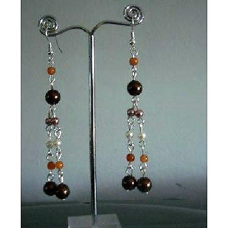 Multi Color Pearls Drop Earrings Cultured Pearls Earrings Jewelry Gift