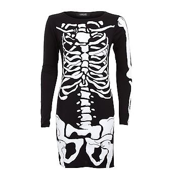 Ladies Long Sleeve Skull Bone Skeleton Print Bodycon Women's Short Dress