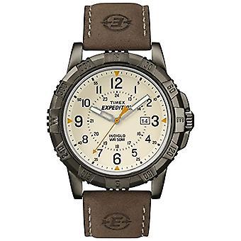 Timex T49990 Orologio Analogico da Polso da Uomo, Pelle, Bianco/Marrone