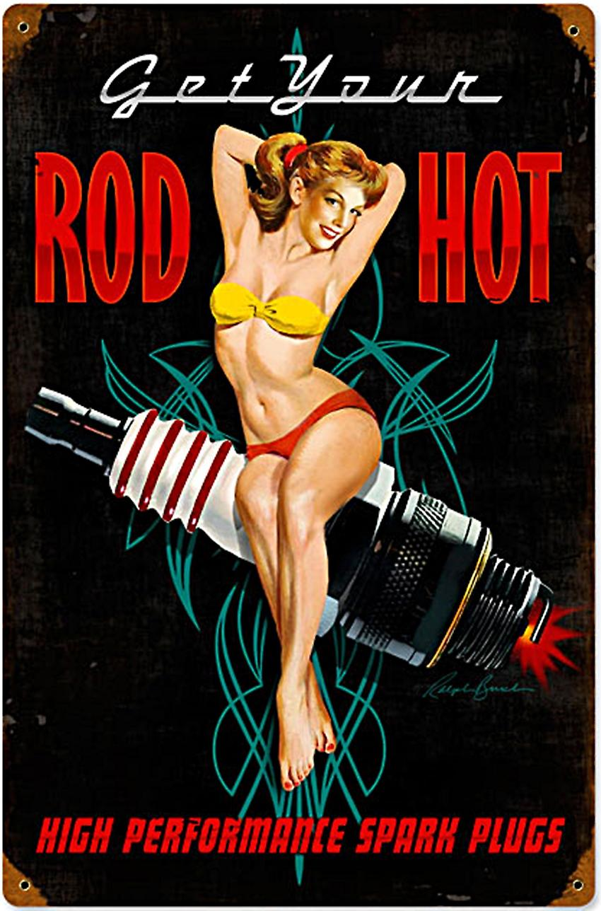 Rod Hot Spark Plugs rusted metal sign (pst 1812)