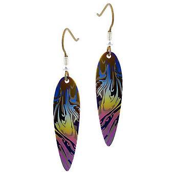 Ti2 Titanium Swirl Pattern Drop Earrings - Blue/Pink/Yellow