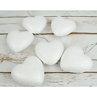6 Large Polystyrene Heart Ornaments with Hanging Cord to Decorate - 70mm